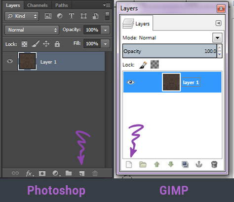Creating a new layer in Photoshop & GIMP